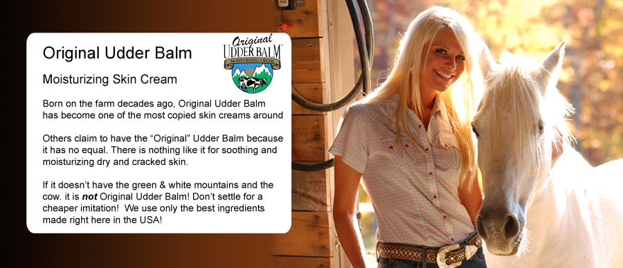 "Original Udder Balm Moisturizing Skin Cream Born on the farm decades ago, Original Udder Balm has become one of the most copied skin creams around Others claim to have the ""Original"" Udder Balm because it has no equal. There is nothing like it for soothing and moisturizing dry and cracked skin. If it doesn't have the green & white mountains and the cow. it is not Original Udder Balm! Don't settle for a cheaper imitation! We use only the best ingredients made right here in the USA!"